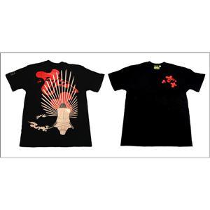 戦国武将Tシャツ 【豊臣秀吉 馬蘭後立付兜】 Lサイズ 半袖 綿100% ブラック(黒) 〔Uネック おもしろ〕