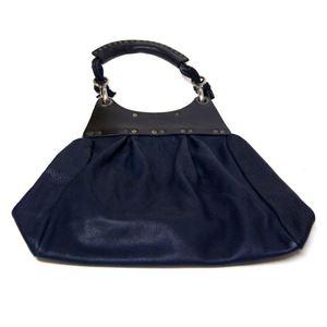 ★dean(ディーン) pleated bag レザーショルダーバッグ ネイビー ハンドル/黒
