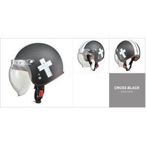レディース NOVIA(ノービア) バブルシールド付スモールロージェットヘルメット クロスブラック