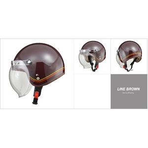 レディース NOVIA(ノービア) バブルシールド付スモールロージェットヘルメット ラインブラウン