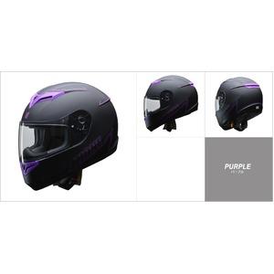 人気のマットブラック ZIONE(ジオーネ) フルフェイスヘルメット パープル Mサイズ