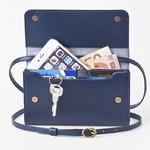 お財布にもなる「ショルダーミニバッグ・プラス・マリンブルー」iPhone 6Plus/7Plusなど大きいスマホも入る / スイス発カーフレザー製