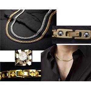 PV 天然ダイヤモンド磁気ネックレス ゴールド Mサイズ