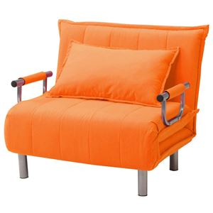 折りたたみソファーベッド/カウチソファー 【シングルサイズ】 肘付き 6段階リクライニング 『ビータII』 みかん(オレンジ)