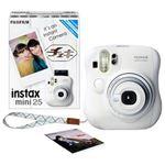 (まとめ)富士フイルム インスタントカメラ チェキinstax mini25 ホワイト 純正ハンドストラップ付 INSMINI25 WHITE N 1台【×3セット】