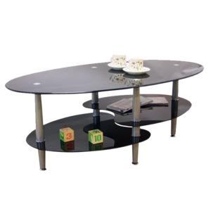 強化ガラステーブル(ローテーブル) 高さ43cm スチール脚 棚収納/アジャスター付き ブラック(黒)