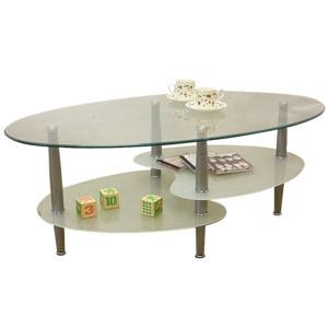強化ガラステーブル(ローテーブル) 高さ43cm スチール脚 棚収納/アジャスター付き ホワイト(白)