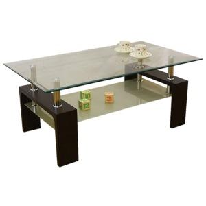 強化ガラステーブル/ローテーブル 【幅105cm】 高さ45cm 棚収納付き ブラウン