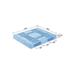 (業務用2個セット)三甲(サンコー) プラスチックパレット/プラパレ 【両面使用型】 段積み可 R2-1012F-2 ライトブルー(青) 【×2セット】