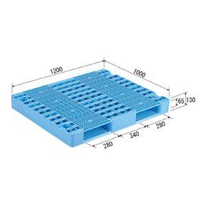(業務用2個セット)三甲(サンコー) プラスチックパレット/プラパレ 【両面使用型】 段積み可 R2-1012 ライトブルー(青) 【×2セット】