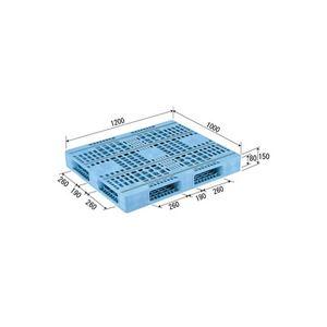 (業務用2個セット)三甲(サンコー) プラスチックパレット/プラパレ 【両面使用型】 段積み可 R4-1012F-3 (PE)ライトブルー 【×2セット】