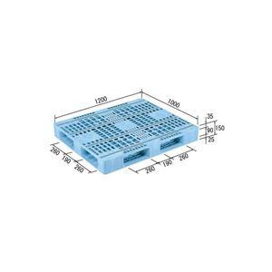 (業務用2個セット)三甲(サンコー) プラスチックパレット/プラパレ 【片面使用型】 軽量 D4-1012F-3 (PE)ライトブルー(青) 【×2セット】