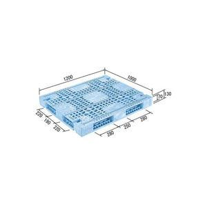 (業務用2個セット)三甲(サンコー) プラスチックパレット/プラパレ 【両面使用型】 段積み可 R4-1012F-4 ライトブルー(青) 【×2セット】