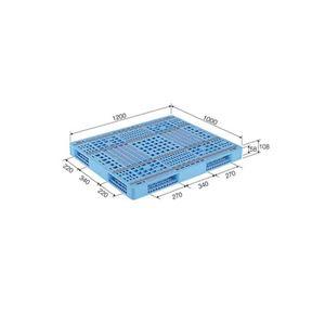 (業務用2個セット)三甲(サンコー) プラスチックパレット/プラパレ 【両面使用型】 段積み可 R4-1012-3 ライトブルー(青) 【×2セット】