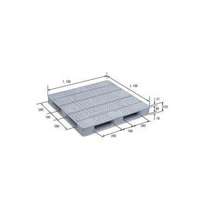 (業務用2個セット)三甲(サンコー) プラスチックパレット/プラパレ 【片面使用型】 D4-1111F-4 ライトグレー(灰) 【×2セット】