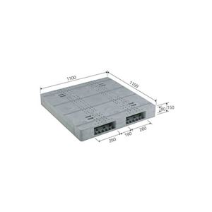 (業務用2個セット)三甲(サンコー) プラスチックパレット/プラパレ 【両面使用型】 段積み可 R2-1111F-8 ライトグレー(灰) 【×2セット】