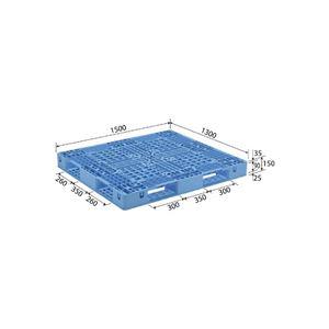 (業務用2個セット)三甲(サンコー) プラスチックパレット/プラパレ 【片面使用型】 D4-1315 ライトブルー(青) 【×2セット】
