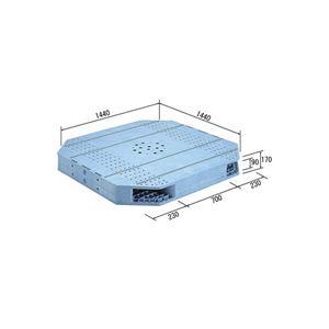 (業務用2個セット)三甲(サンコー) プラスチックパレット/プラパレ 【両面使用型】 段積み可 R2-144144F-FJ ライトブルー 【×2セット】
