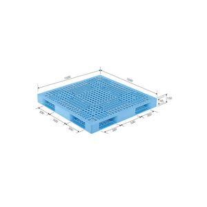 (業務用2個セット)三甲(サンコー) プラスチックパレット/プラパレ 【両面使用型】 段積み可 R4-1515 ライトブルー(青) 【×2セット】