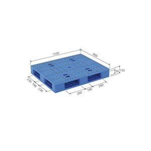 (業務用2個セット)三甲(サンコー) プラスチックパレット/プラパレ 【両面使用タイプ】 軽量 LX-911R4 ブルー(青) 【×2セット】