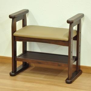 玄関スツール/腰掛け椅子 【幅58cm】 木製 ブラウン 座面高さ3段階調整可 肘掛付き クッション座面