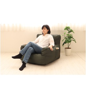 圧縮ウレタンソファ【LIBREST-1P-】(リブレスト)【1人掛け】  ローソファ 座椅子 モスグリーン