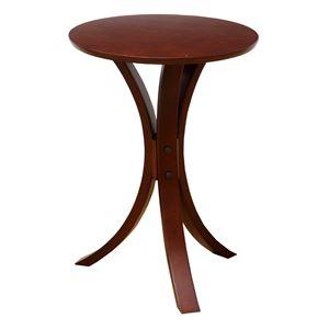 丸形サイドテーブル/置台 【ダークブラウン】 直径40cm 木製 省スペース 木目調