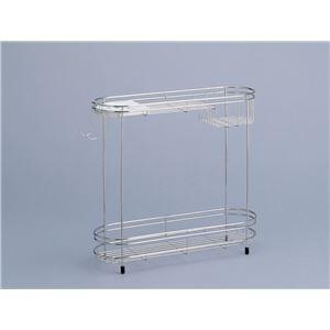 シャンプーラック(シャワーラック/浴室収納棚) 2段 ステンレス製 石けん皿/フック/アジャスター付き