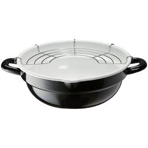 ホーロー製天ぷら鍋/揚げ物鍋 【24cm】 揚げ網付き ブラック&ホワイト