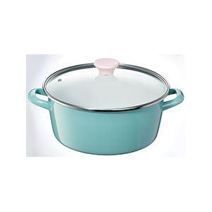 ホーロー製両手鍋/ホーロー鍋 【26cm】 容量:6.2L 強化ガラス蓋付き ファニーブルー