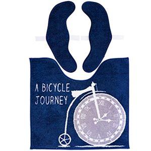 カキウチ Clock トイレマット 便座カバーセット トイレ2点セット 55×60cm ネイビー