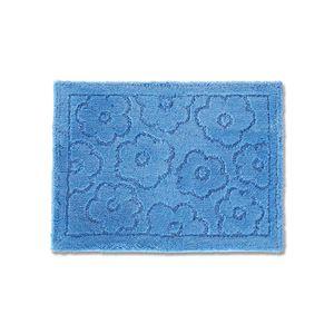 バスマット/フロアマット 【約45×60cm ブルー】 吸水 抗菌 防臭 裏面滑り止め加工 『乾度良好 サニー』