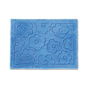 バスマット/フロアマット 【約50×70cm ブルー】 吸水 抗菌 防臭 裏面滑り止め加工 『乾度良好 サニー』