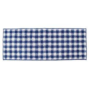 オカ キッチンマット ギンガムチェック ブルー 45×180cm (インテリアマット)