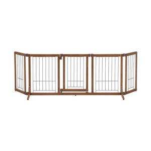 リッチェル ペットゲート 犬用 ペット用 木製おくだけドア付きゲート L ブラウン(BR)