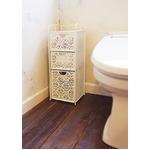 三段ラック/トイレ収納 【ホワイト】 スチール製 『ファミーユ』