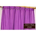 カラーレースカーテン 2枚組 100×176 パープル ミラーレース 見えにくい 洗える アジャスターフック付き セルバ2