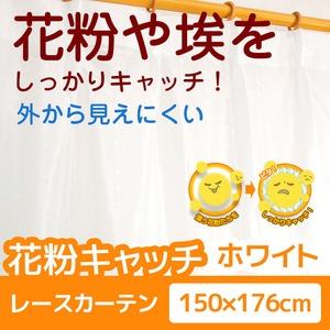 花粉キャッチ レースカーテン 2枚組 / 150cm×176cm ホワイト / 防汚加工 洗える アジャスターフック付き 『アスル』