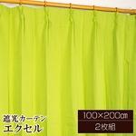遮光カーテン/サンシェード 2枚組 【100cm×200cm グリーン】 無地 タッセル付き アジャスターフック付き 『エクセル』