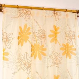 レースカーテン 2枚組 100×176 オレンジ ボタニカル柄 リーフ柄 タッセル付き Lプラム