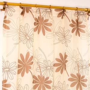 レースカーテン 2枚組 100×176 ブラウン ボタニカル柄 リーフ柄 タッセル付き Lプラム