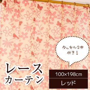 レースカーテン 2枚組 100×198 レッド 花柄 鳥 蝶 タッセル付き シルエットバード
