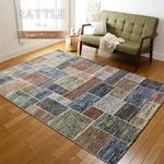 カーペット ラグ 160×230 グリーン ウィルトン 絨毯 ラグマット タイル柄 ラトル