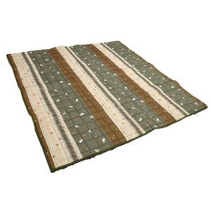 こたつ こたつ敷き こたつ布団 正方形 落ち着いた和風デザイン 和ごころ敷き 幅200x奥行200cm グリーン