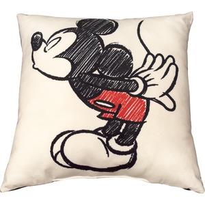 ディズニー ミッキー クッション 43S アイボリー ミッキー手描き風 キス柄
