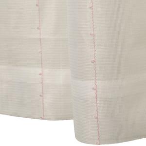 刺繍 レースカーテン ライン柄 幅100×丈176cm 2枚入 ピンク ピコン