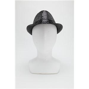 【コスプレ】 スパンコールハット /帽子 【ブラック】 ポリエステル製 頭囲約60cm 〔イベント 仮装 舞台小物〕
