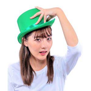 シルクハット/パーティーグッズ 【グリーン】 ナイロン製 頭囲約60cm 〔コスプレ 仮装 舞台小物〕