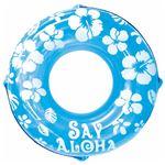 浮き輪 【120cm】 ブルー ハイビスカス柄 塩化ビニール樹脂製 〔プール ビーチ 海外旅行〕