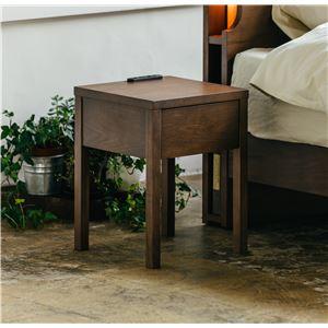 二口コンセント付きナイトテーブル/ベッドサイドテーブル 【ブラウン 】 幅30cm 木製 引き出し付き